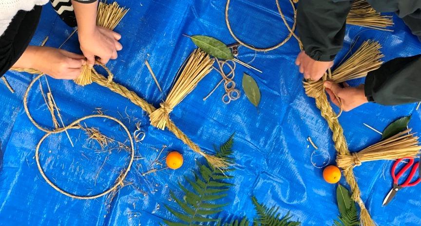 阿山農産で獲れた稲藁でつくる しめ縄づくり